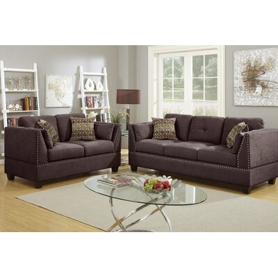 Bobkona Zenda Sofa and Loveseat Set Upholstery: Dark Brown