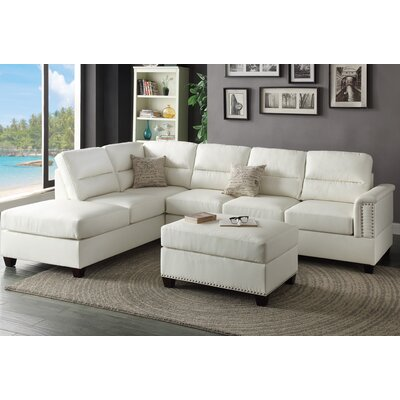 Poundex F7610 Bobkona Toffy Reversible Chaise Sectional Upholstery