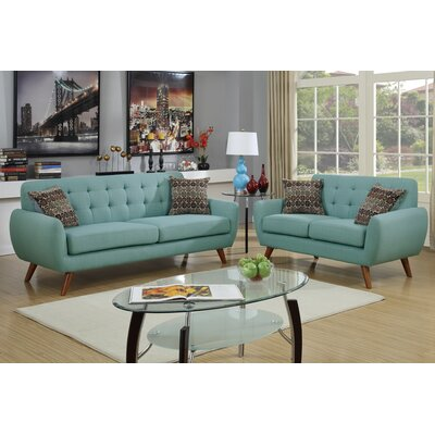Poundex F6914 Bobkona Sonya 2 Piece Sofa and Loveseat Set Upholstery