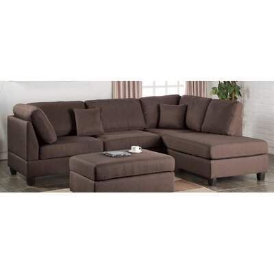 Poundex F7608 Bobkona Dervon Reversible Chaise Sectional Upholstery