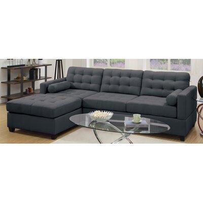 Poundex F7587 Bobkona Hardin Reversible Chaise Sectional Upholstery