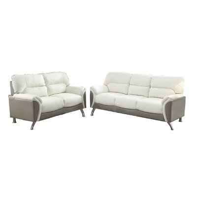 Bobkona Hector Sofa and Loveseat Set Upholstery: White