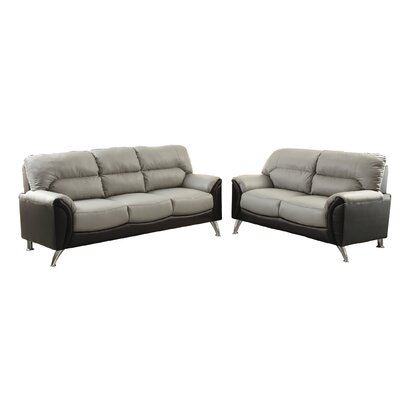 Bobkona Hector Sofa and Loveseat Set Upholstery: Gray