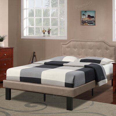 Bobkona Finely Twin Upholstered Platform Bed Upholstery: Tan