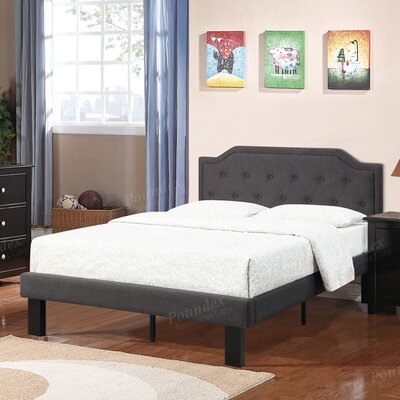 Bobkona Finely Twin Upholstered Platform Bed Upholstery: Ash Black