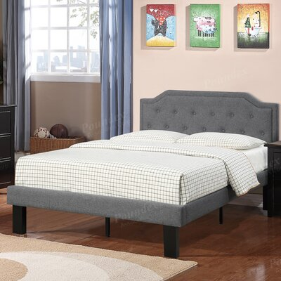 Bobkona Finely Twin Upholstered Platform Bed Upholstery: Blue/Gray