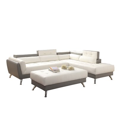 Bobkona Jolie Sectional with Ottoman Upholstery: Gray/White