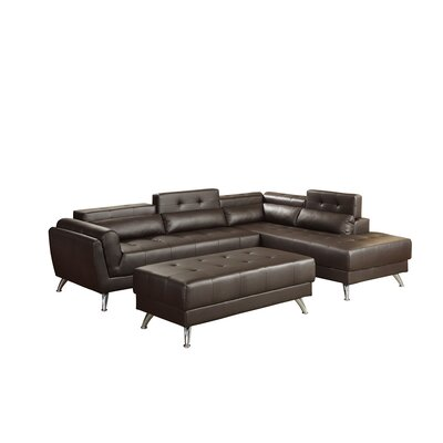 Bobkona Jolie Sectional with Ottoman Upholstery: Espresso