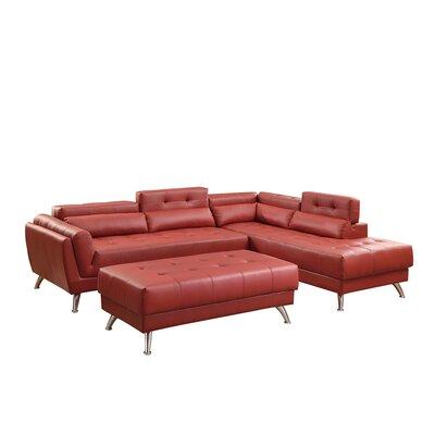 Bobkona Jolie Sectional Upholstery: Burgundy