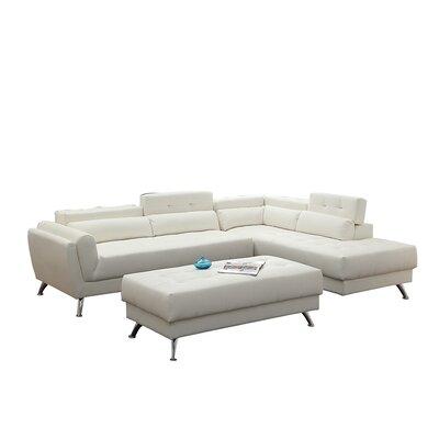 Bobkona Jolie Leather Sectional Upholstery: White