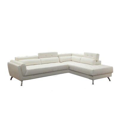 Bobkona Jolie Sectional Upholstery: White