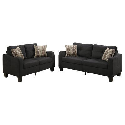 Bobkona Spencer Sofa and Loveseat Set Upholstery: Black