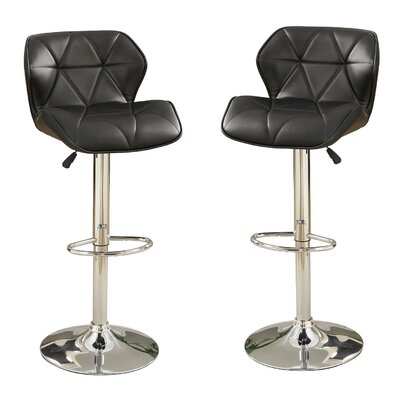 Bobkona Frances Adjustable Height Bar Stool Upholstery: Black