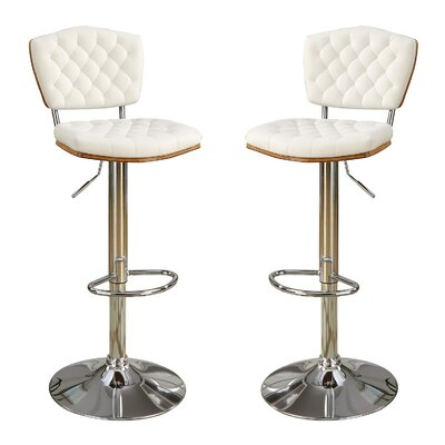 Bobkona Lyssa Adjustable Height Bar Stool Upholstery: White