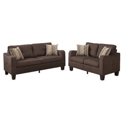 Bobkona Spencer 2 Piece Living Room Set Upholstery: Chocolate