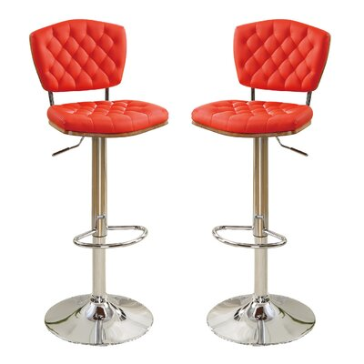 Bobkona Lyssa Adjustable Height Bar Stool Upholstery: Red