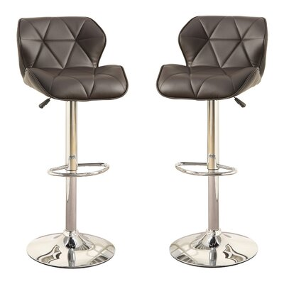 Bobkona Frances Adjustable Height Bar Stool Upholstery: Brown