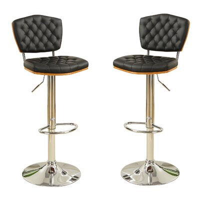 Bobkona Lyssa Adjustable Height Bar Stool Upholstery: Black