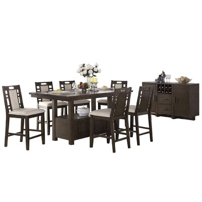 Bobkona Parker 8 Piece Counter Height Dining Set