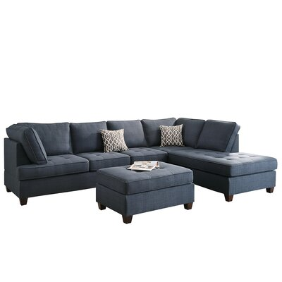 Bobkona Kemen Reversible Sectional Upholstery: Blue