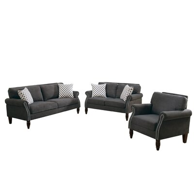 Bobkona Faymoor 3 Piece Living Room Set Upholstery: Slate