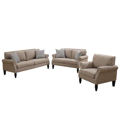 Bobkona Faymoor 3 Piece Living Room Set Upholstery: Sand