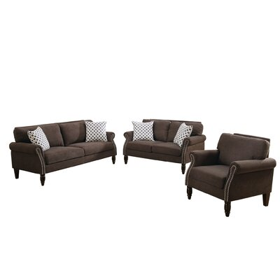 Bobkona Faymoor 3 Piece Living Room Set Upholstery: Dark Brown