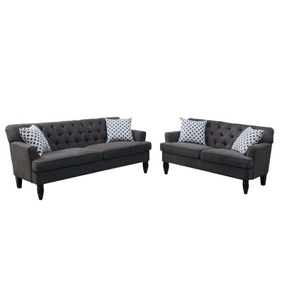 Bobkona Fostord 2 Piece Living Room Set Upholstery: Slate