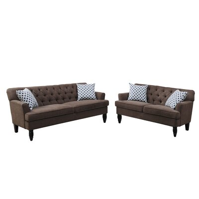 Bobkona Fostord Sofa Set Upholstery: Dark Brown