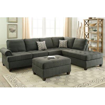 Bobkona Azura Reversible Sectional Upholstery: Ash Gray