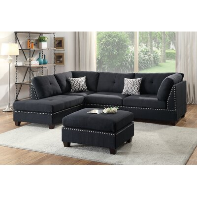 Bobkona Viola Reversible Sectional with Ottoman