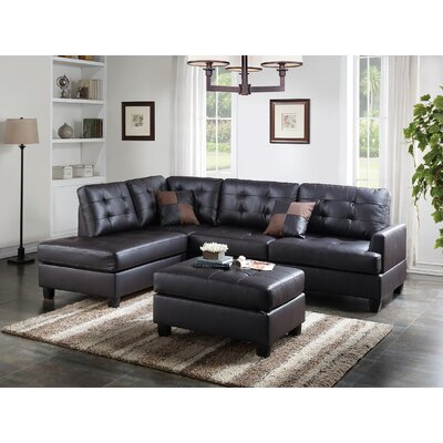 Bobkona Matthew Sectional with Ottoman Upholstery: Espresso
