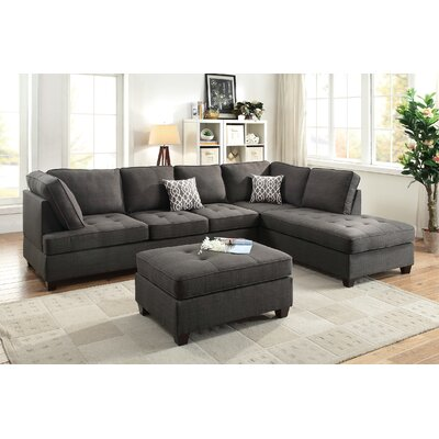 Bobkona Kemen Sectional with Ottoman Upholstery: Ash Gray
