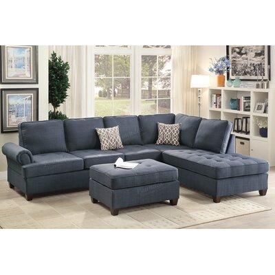 Bobkona Azura Reversible Sectional Upholstery: Blue