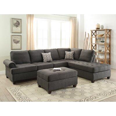 Bobkona Azura Sectional Upholstery: Ash Gray