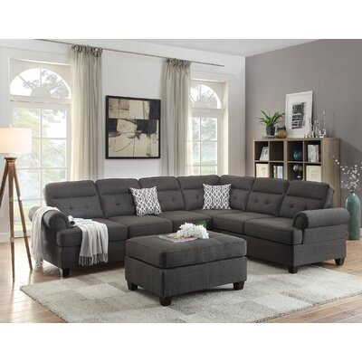 Bobkona Oliver Sectional with Ottoman Upholstery: Ash Gray
