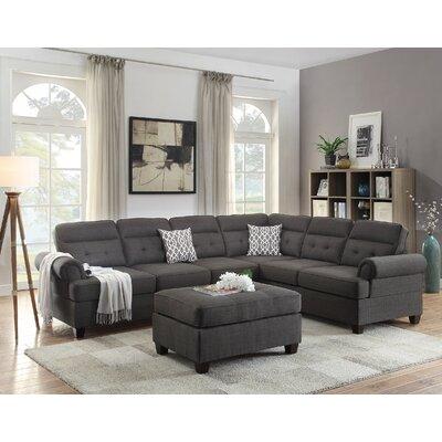 Bobkona Oliver Reversible Sectional Upholstery: Ash Gray