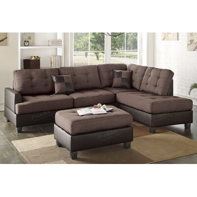 Bobkona Matthew Reversible Sectional with Ottoman Upholstery: Chocolate