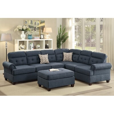 Bobkona Oliver Reversible Sectional Upholstery: Blue