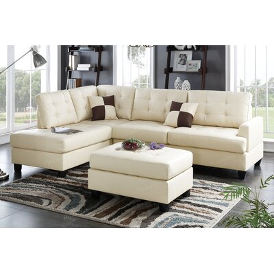 Bobkona Matthew Reversible Chaise Sectional Upholstery: Beige