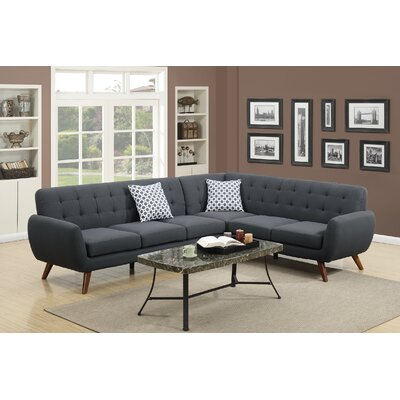 Bobkona Galiana Sectional Upholstery: Ash Black