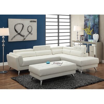 Bobkona Jolie Sectional with Ottoman Upholstery: White