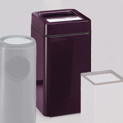 RUBBERMAID COMMERCIAL PRODUCTS Barclay Square Sand Top Ash/Trash Receptacle - Finish/Color: Standard Gel-Coat Bright Plum, Liner: Rigid Plastic (Set of 2)