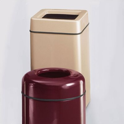 RUBBERMAID COMMERCIAL PRODUCTS Barclay Square Open Top Receptacle - Finish/Color: Standard Gel-Coat Warm Brown, Liner: Rigid Plastic (Set of 2)
