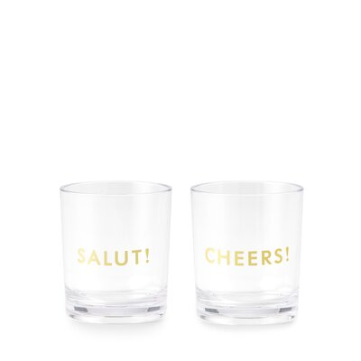 Raise a Glass Here's To You 2 Piece 12 oz. Plastic/Acrylic Cocktail Glass Set 167642
