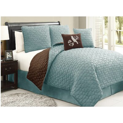 Stockton 5 Piece Quilt Set Size: King, Color: Blue / Brown