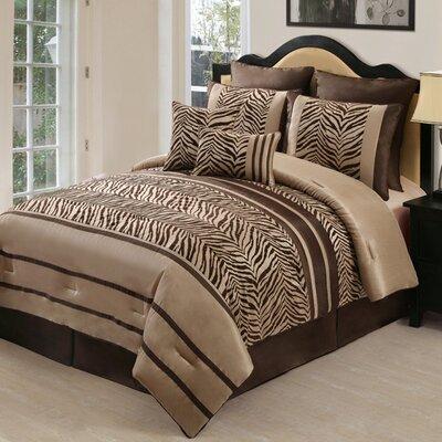 Victoria Classics Laken Zebra 8-Piece Comforter Set - Color: Brown, Size: Queen