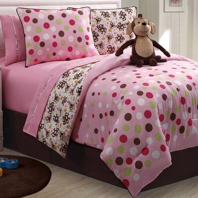 Monkey Reversible Comforter Set Size: Twin