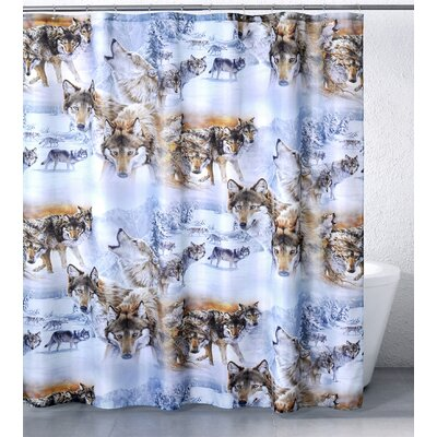 Picture of Casa Bella by Fine Art Creations Wolves Crossing Shower Curtain in Large Size