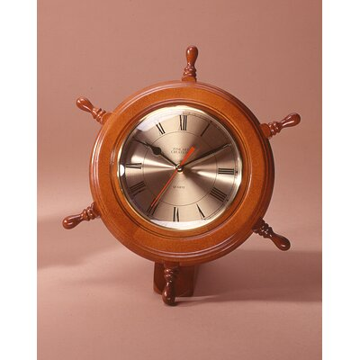Ship Wheel WallDesk Clock Color Walnut